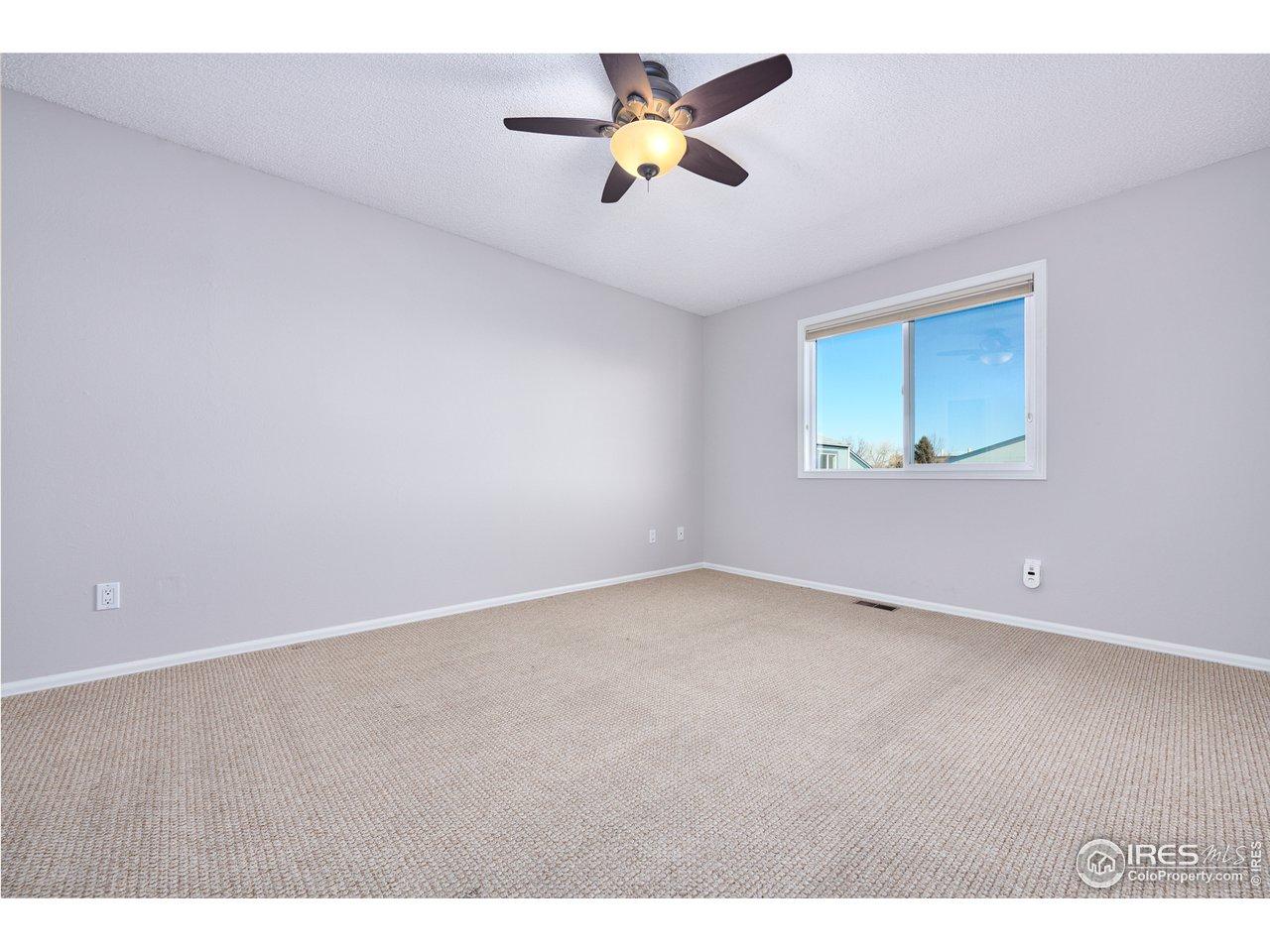 Ceiling fan & Hunter Douglas blinds