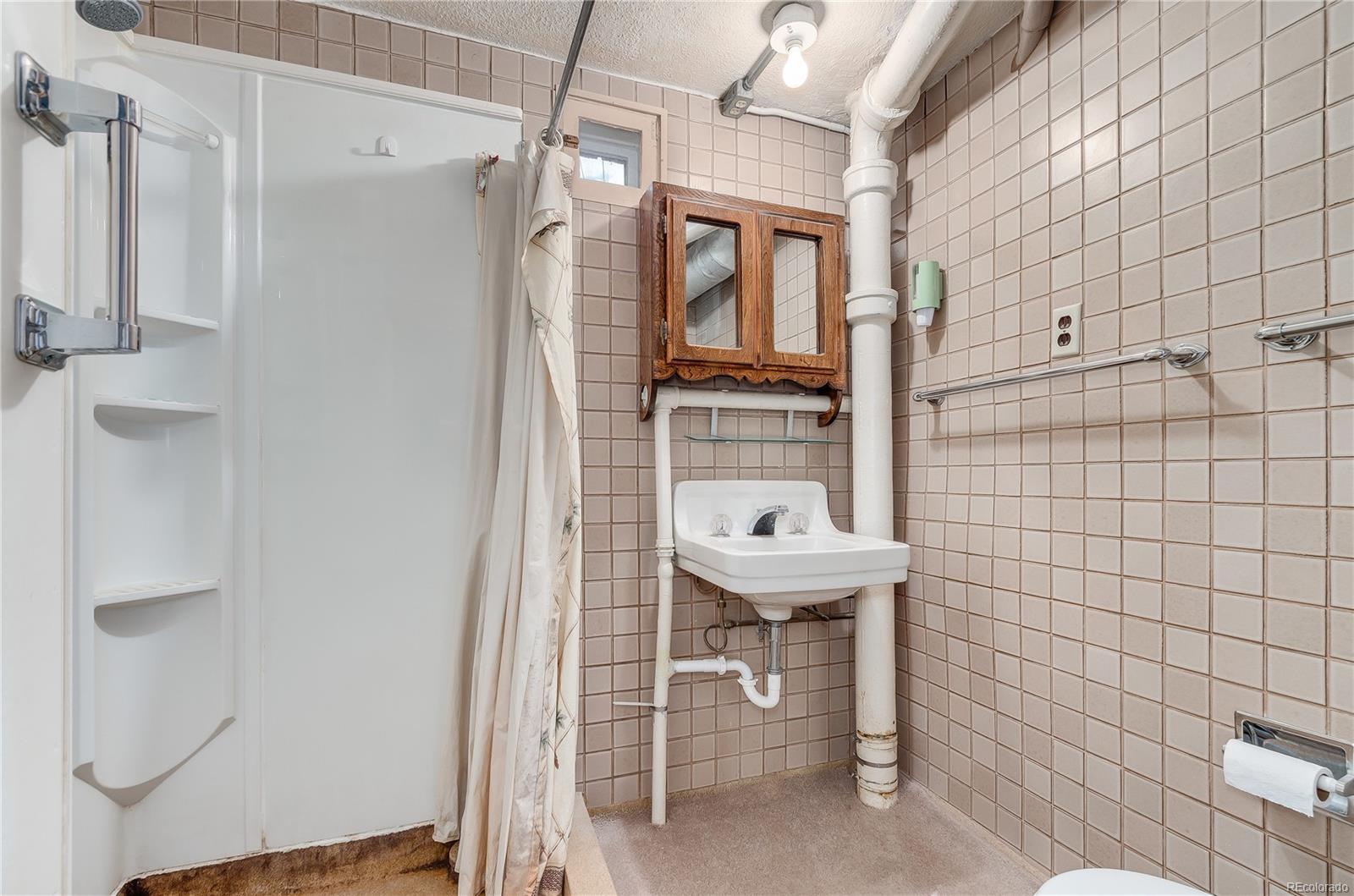 Basement bathroom presents room for guests.