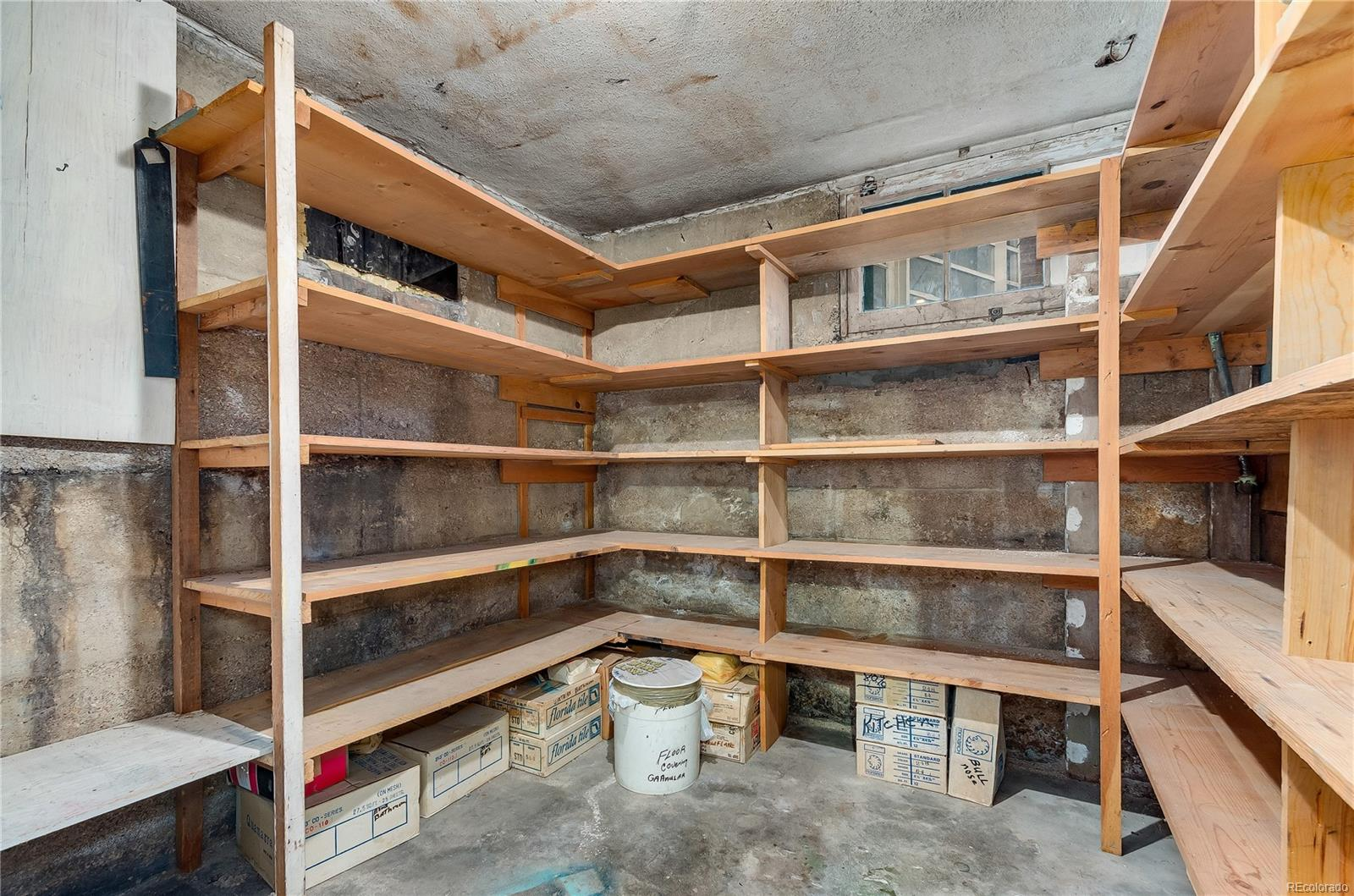Basement storage area offers extra convenience.