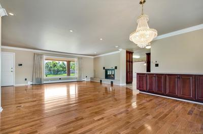 Dining & Living Room w/ Stellar Backyard Views and Gleaming Hardwood Floors