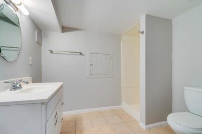 Basement bathroom with walk-in shower.