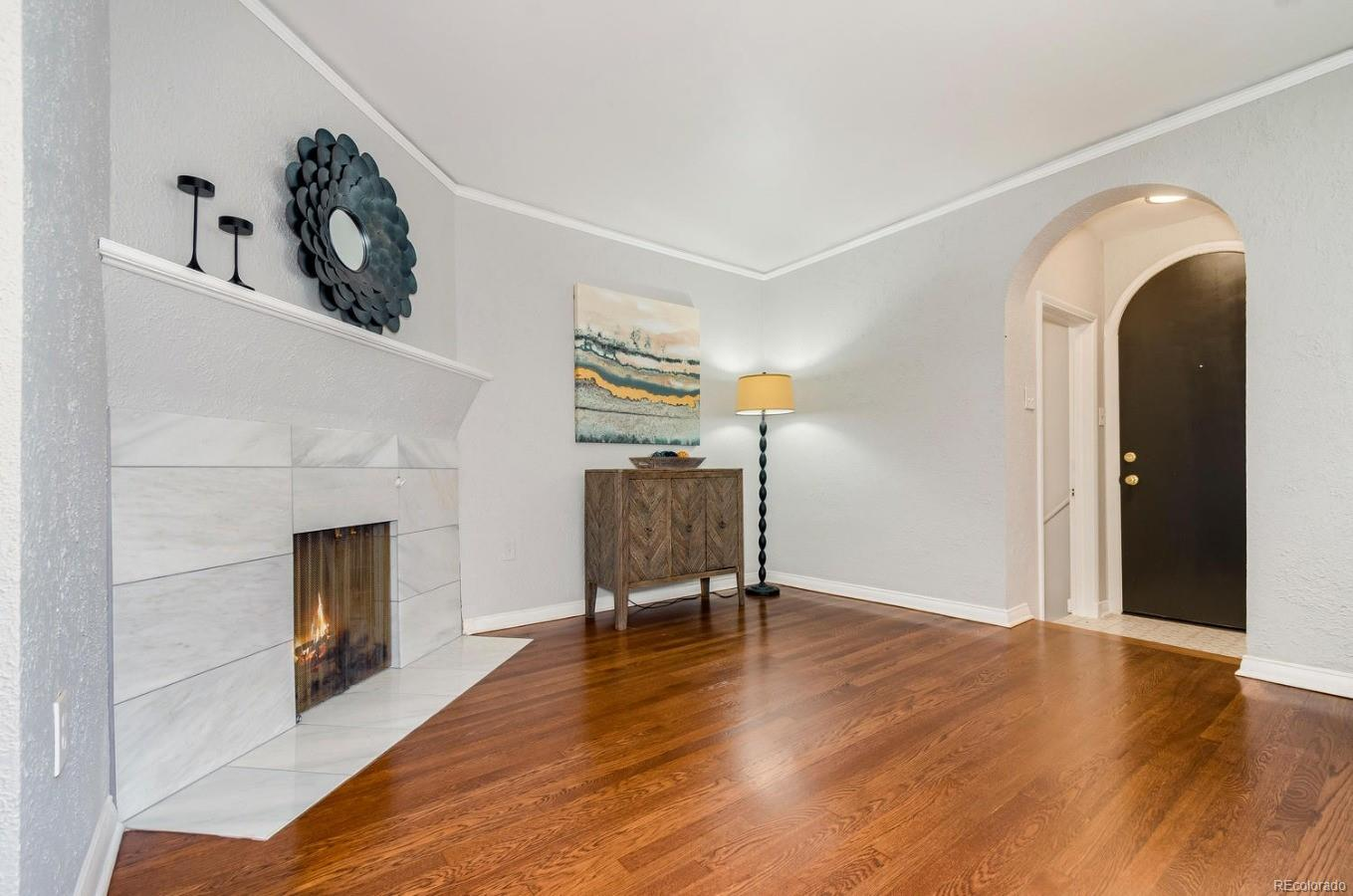 A wood burning fireplace creates the perfect ambiance.