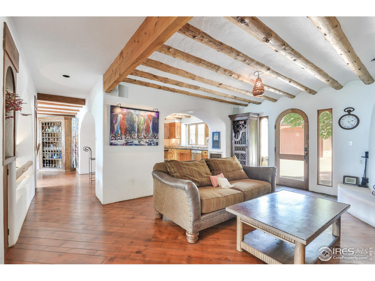 Wood beams throughout