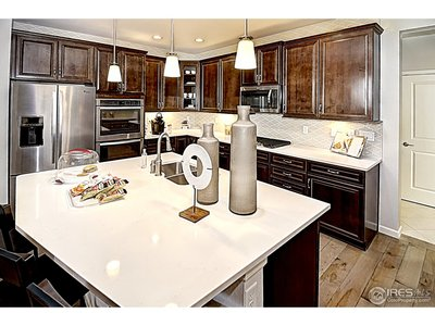 Living & dining area flows to kitchen