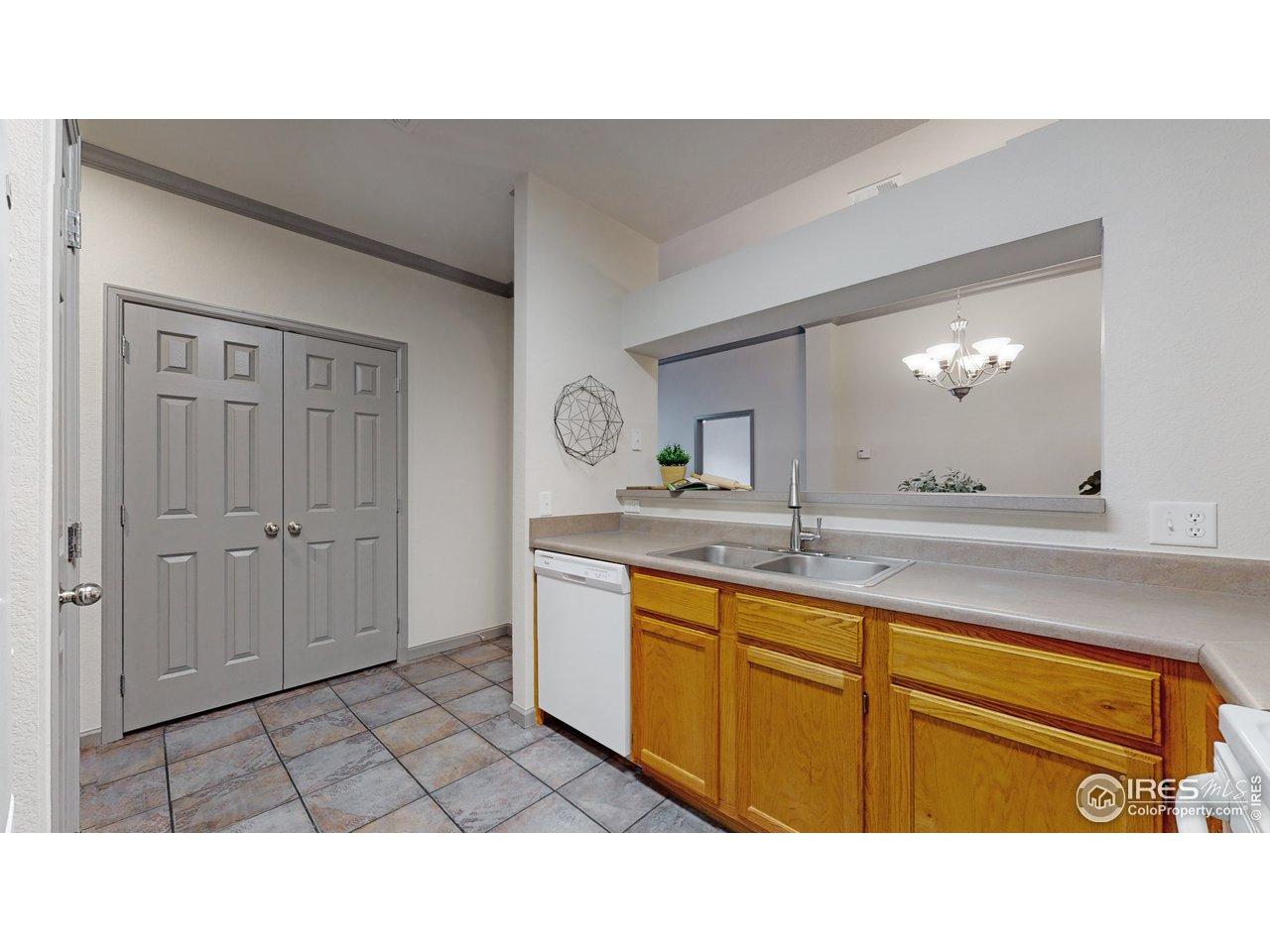 True tile flooring in kitchen