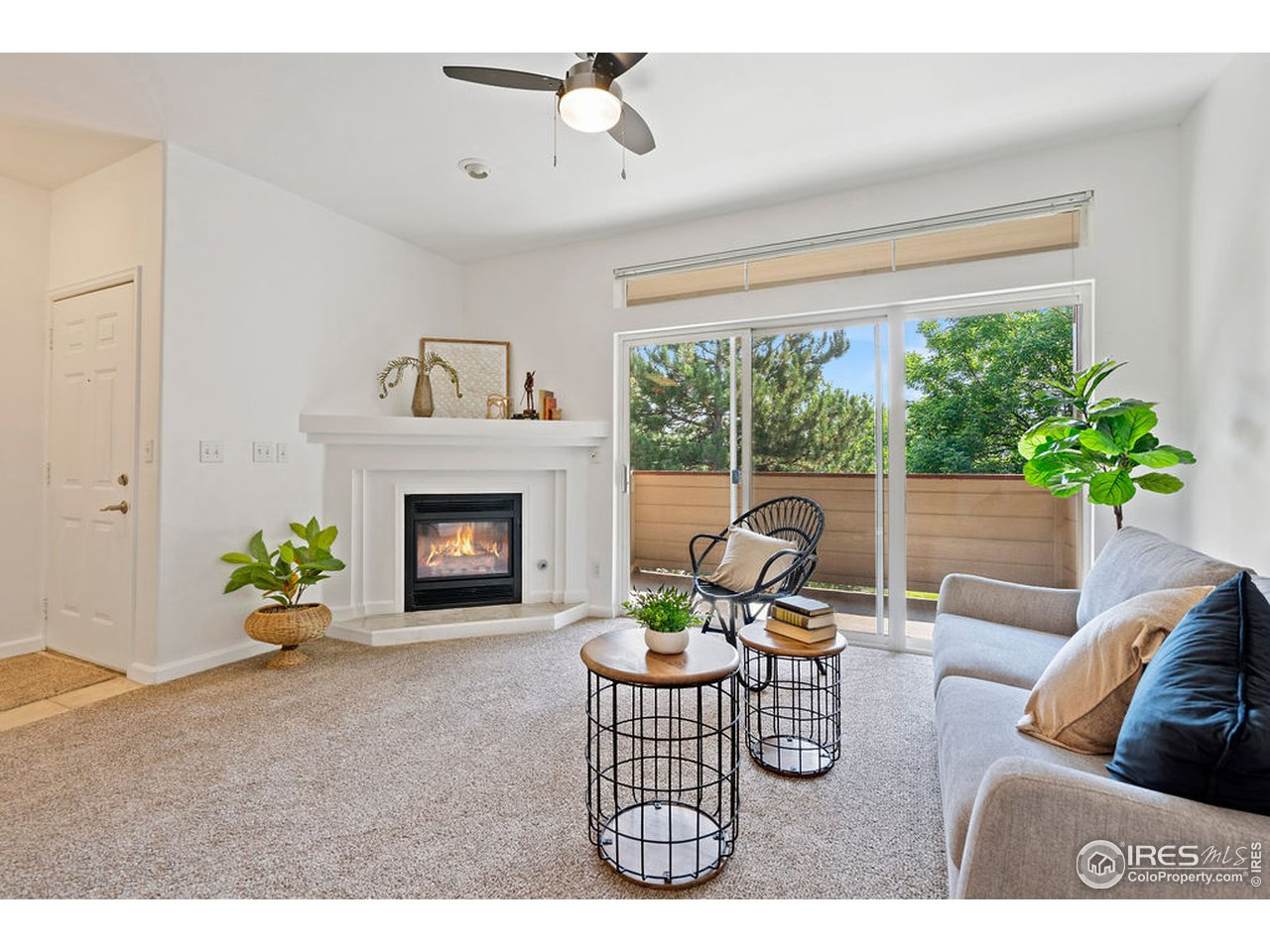 Fireplace & balcony