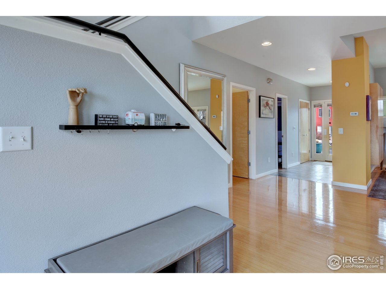 Slate Tile in foyer, Gleaming Bamboo throughout