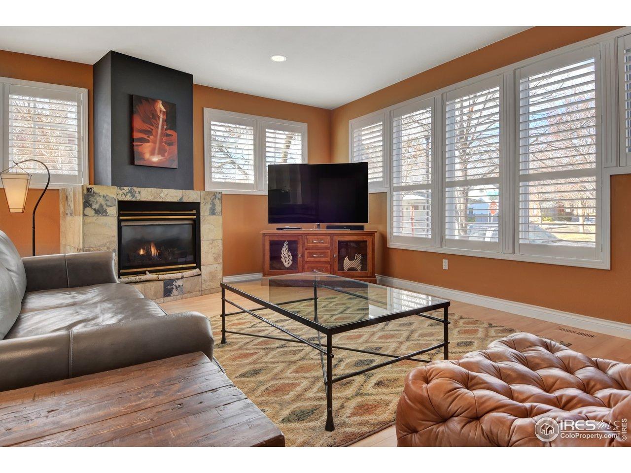 Inviting Living Room w/ Plantation Shutters & FP