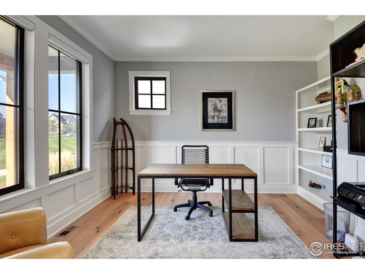 Main Flr Office w/ Wainscoting & Glass Barn Slider