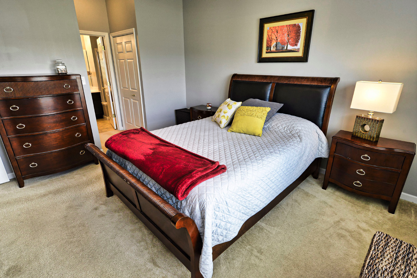 The bedroom is huge! And, the washer and dryer are in the hallway closet adjacen
