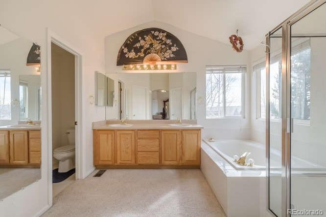 Garden tub, separate shower, his and her closets!