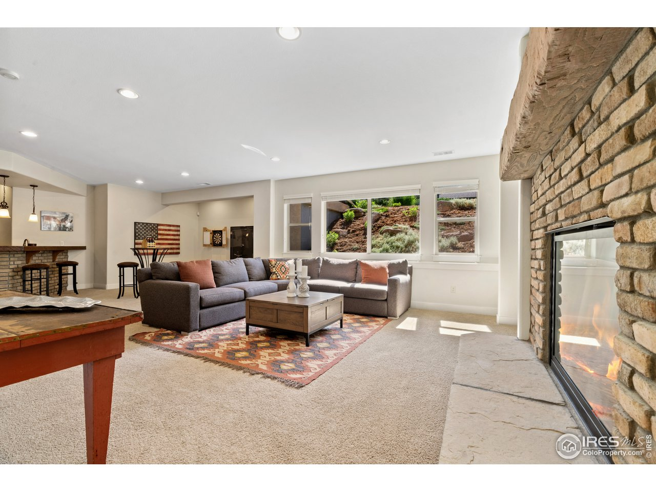 Gas Fireplace in Basement Living Room