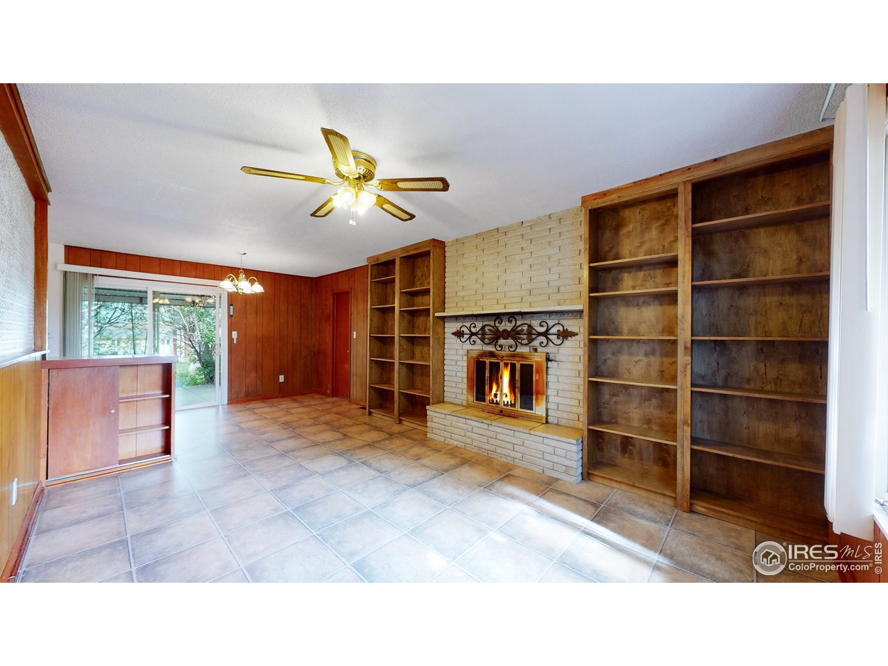 Separate great room with wood fireplace