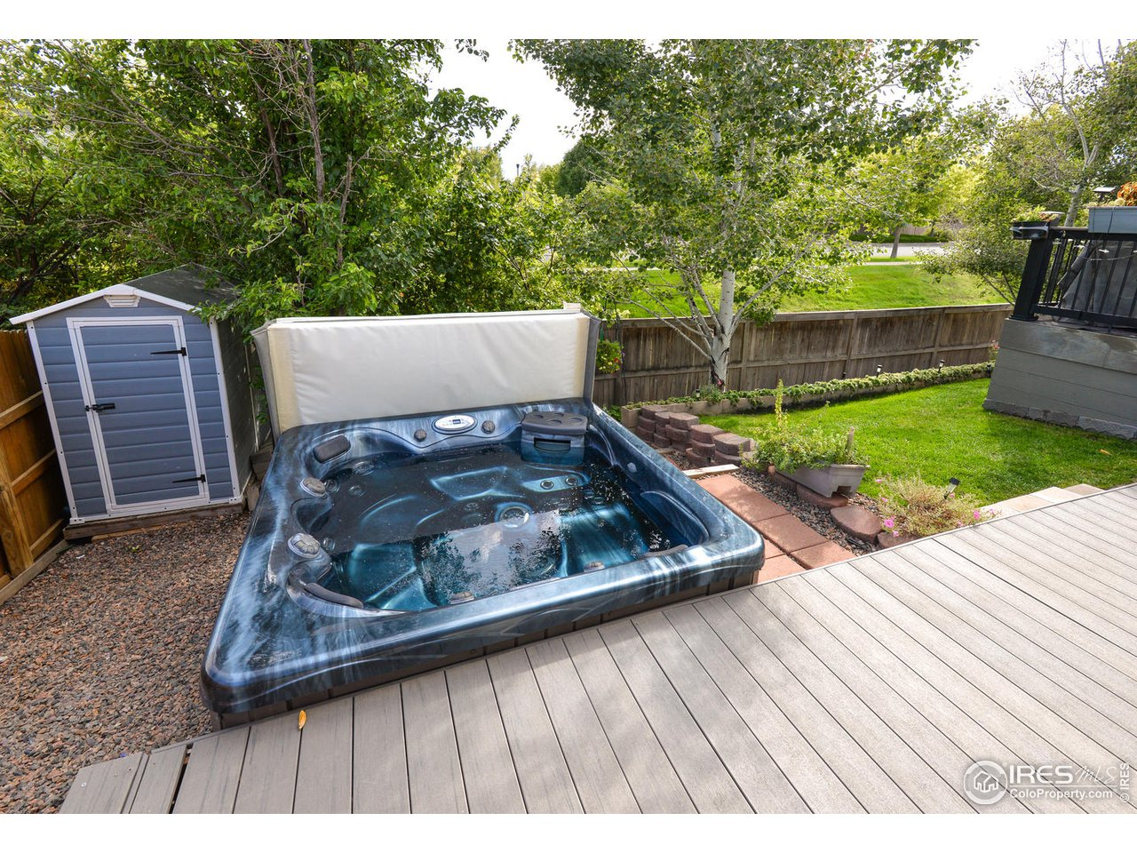 Hot Tub Area and Storage Sheds