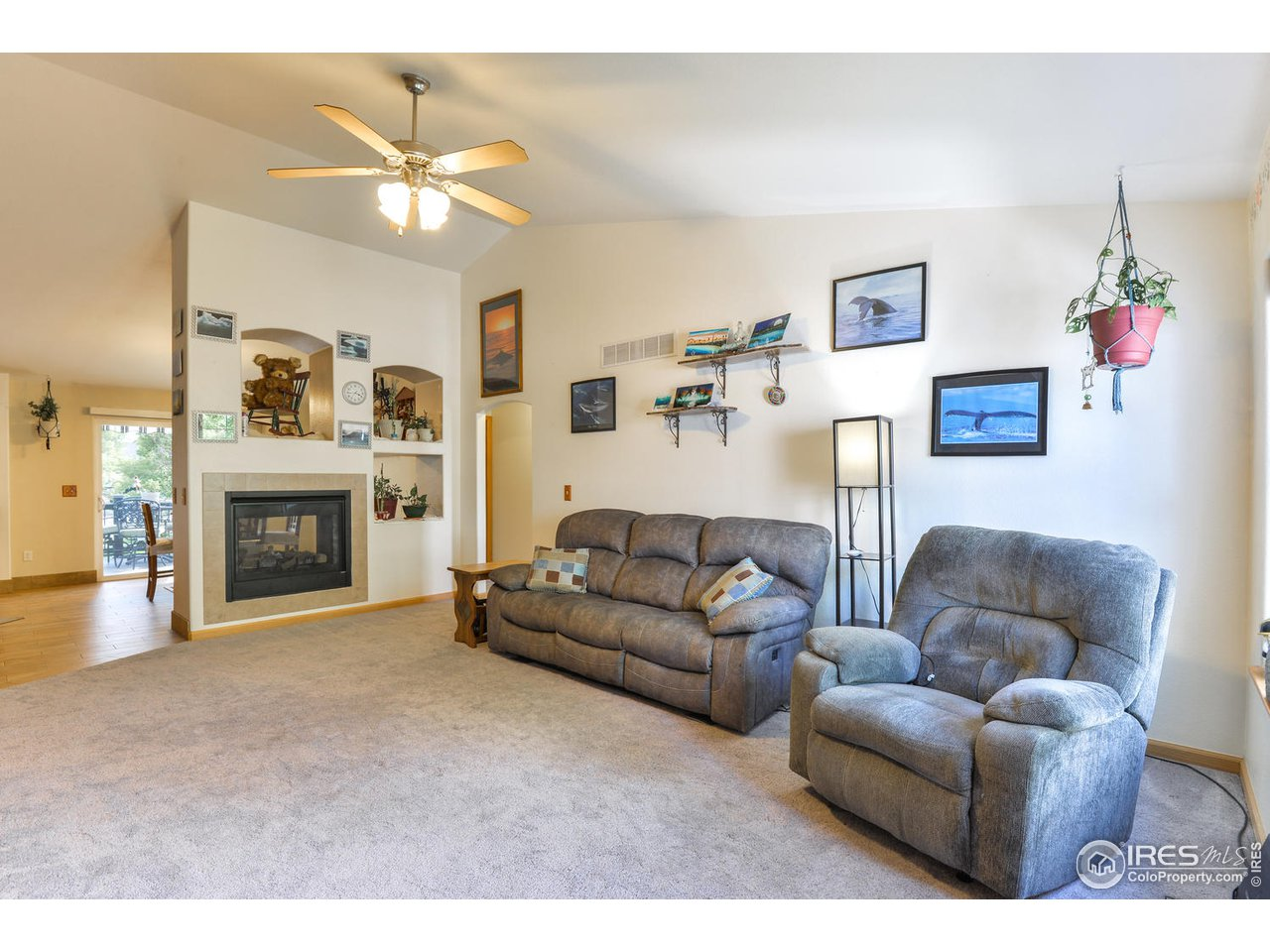 Vaulted Ceiling and Double Sided Fireplace