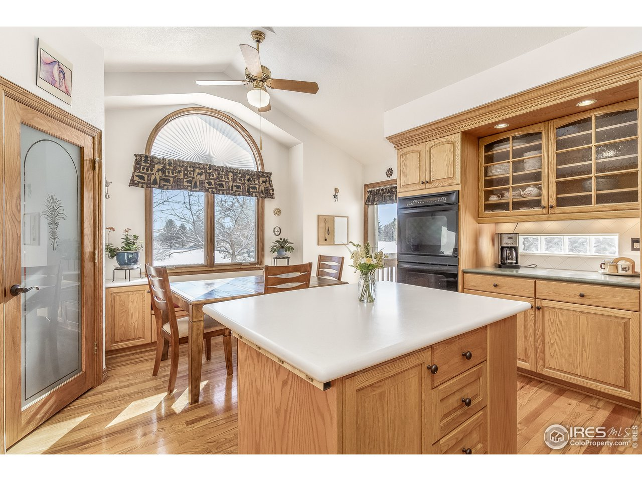 kitchen center island and dining area
