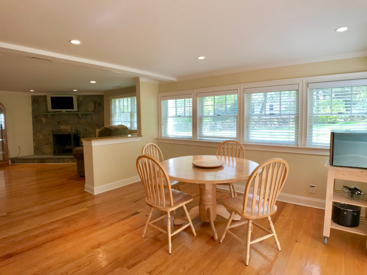 Large windows & Gleaming Hardwood Floor