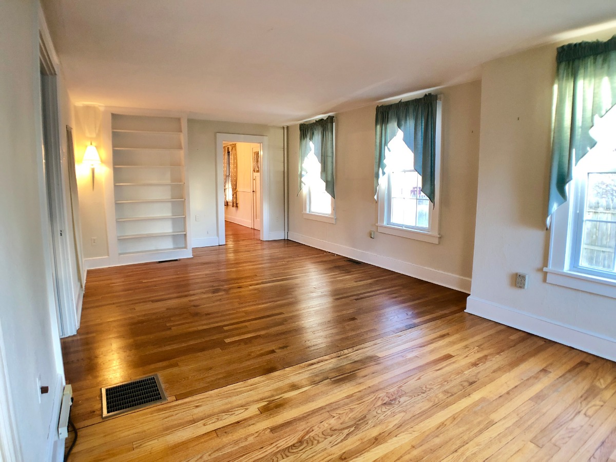 Hardwood floors, French glass doors