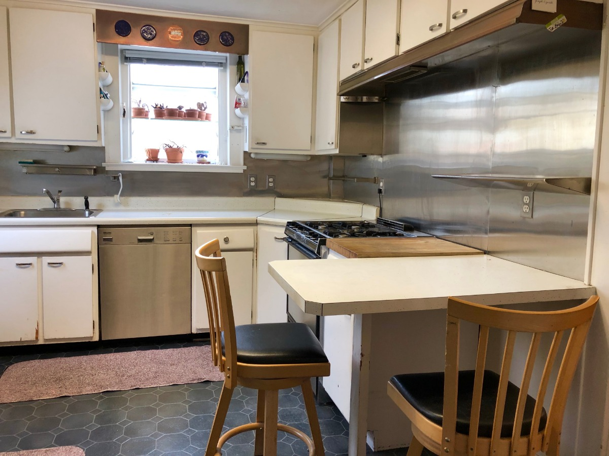 Stainless steel gas cooking kitchen