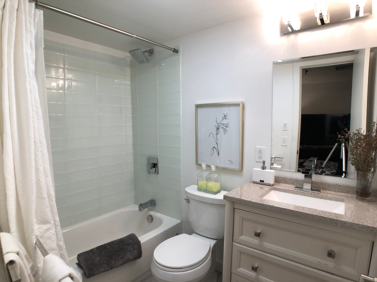 Full Bath with remodeled sink and cabinets