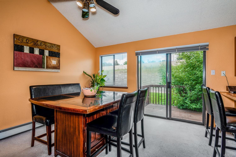 Dining room, slidingglass door to deck and kitchen.