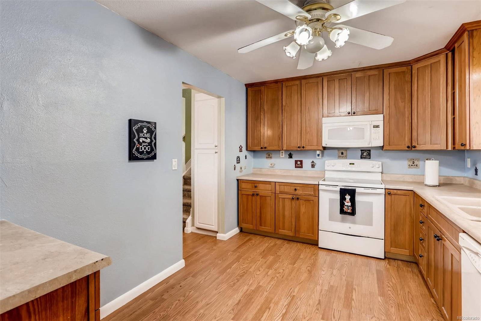 Plenty of cabinet and counter space in this open kitchen.