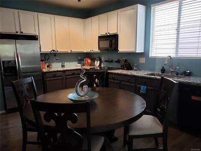 Granite counter tops with Grey cabinets below and White above.  Wood Laminate floor and Refrigerator stays.