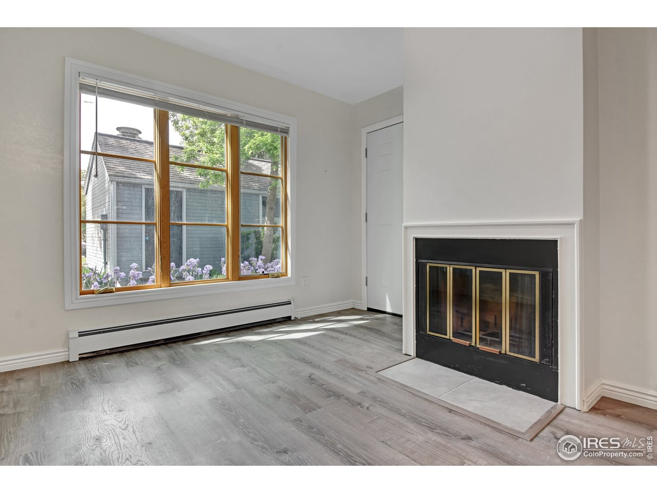 Front window and Fireplace