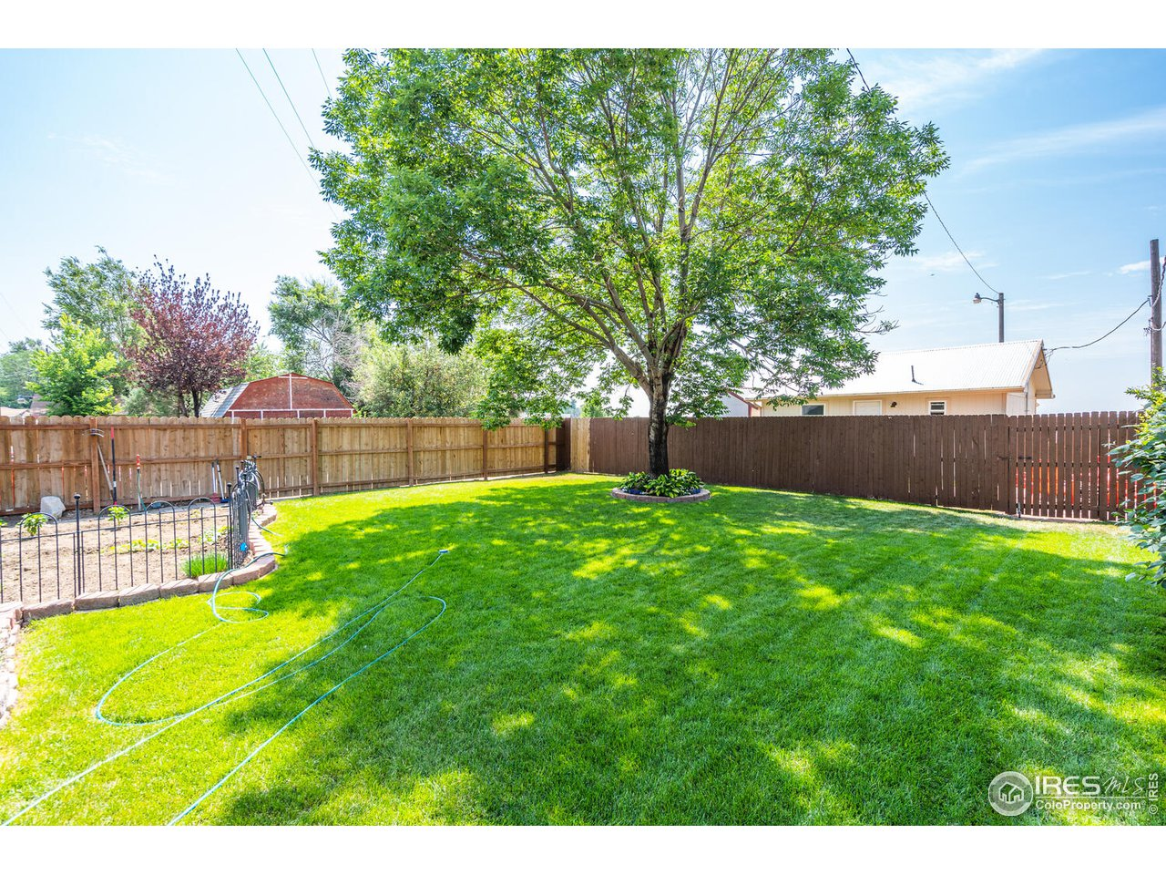 Fully fenced private backyard with mature landscaping and trees!