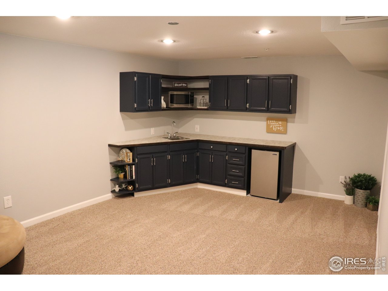 Basement living area with kitchenette!