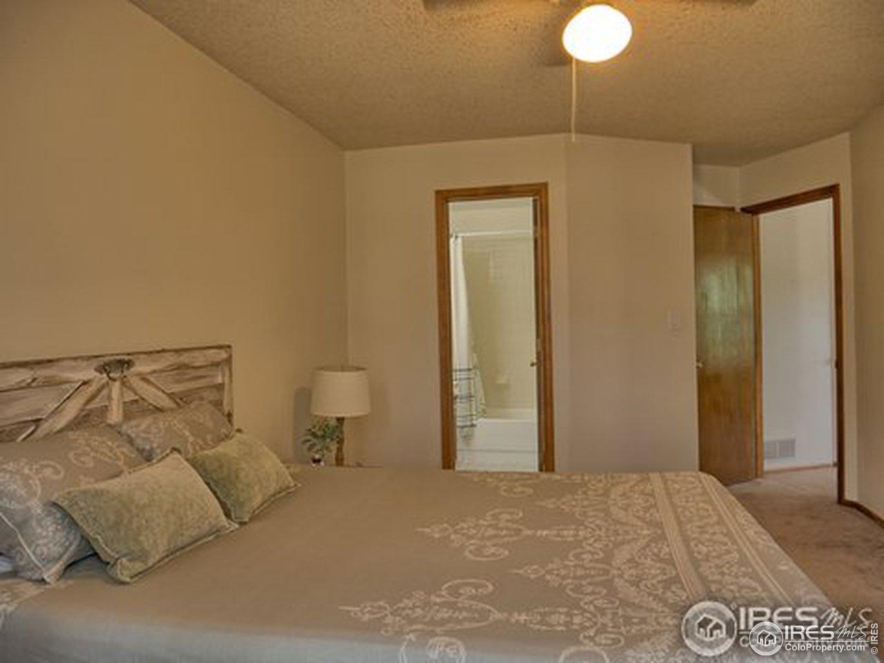 Bedroom facing the bathroom