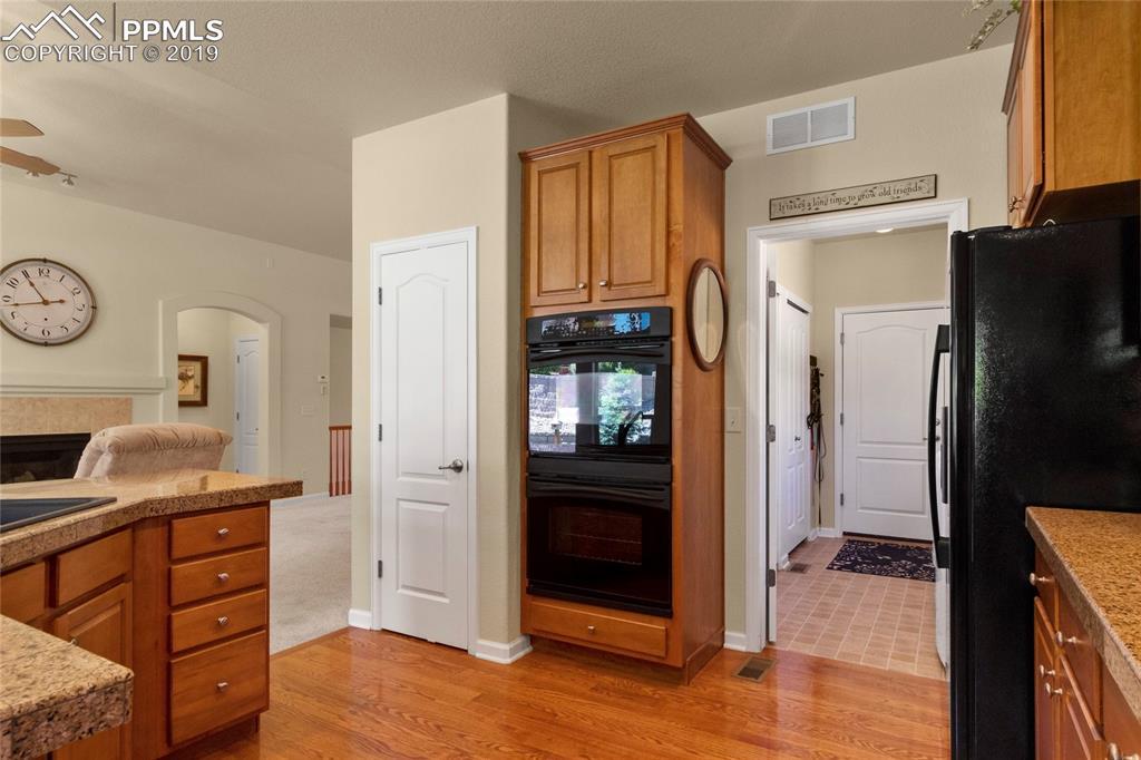Convenient access to kitchen from garage.