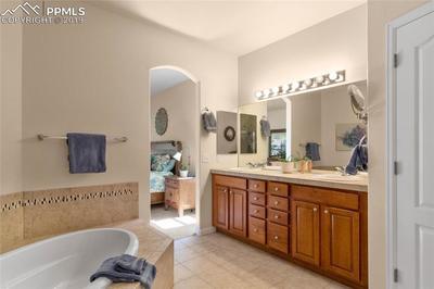 Dual sinks, counter-height vanity.