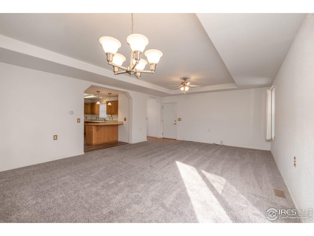 Dining room into Living room and garage door