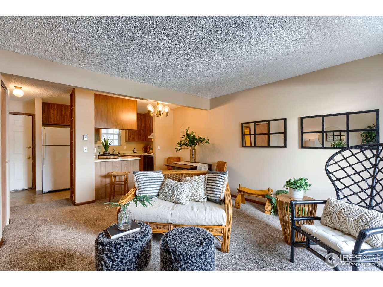 Living room adjacent to kitchen