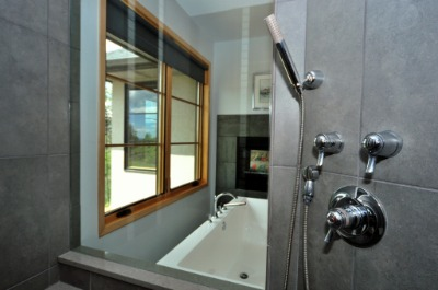 Walk in shower w/ high end finishes