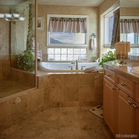 Master bath, deep soaking tub, view to the city
