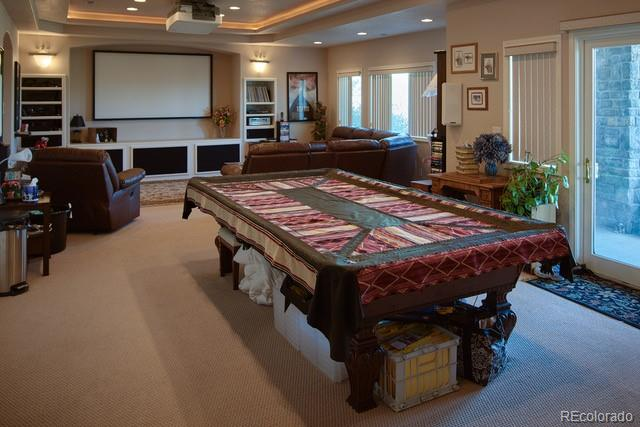 Game room/theater room in walk-out